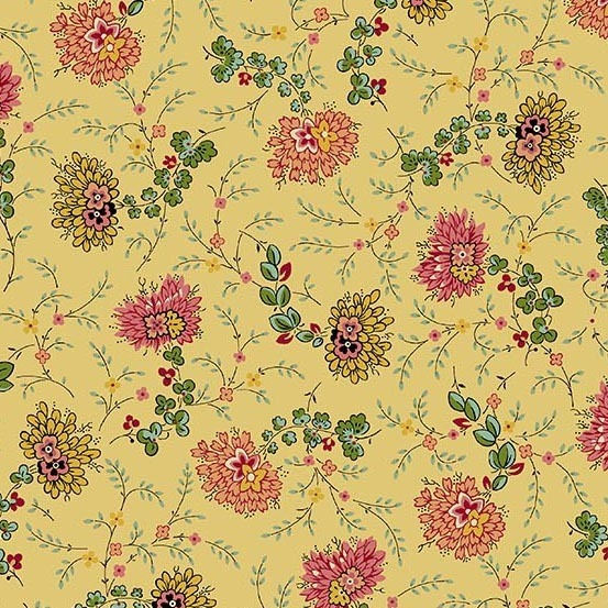 Bally Hall delicate floral mustard